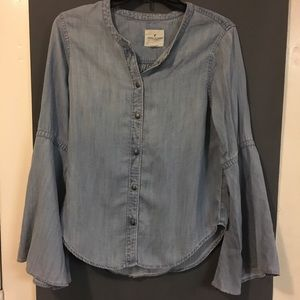 NWT American Eagle chambray denim bell sleeve top